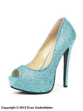 Högklackad sko med strasstenar och öppen tå